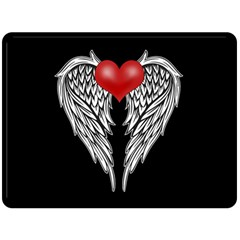 Angel Heart Tattoo Double Sided Fleece Blanket (large)  by Valentinaart