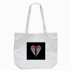 Angel Heart Tattoo Tote Bag (white) by Valentinaart