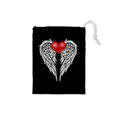 Angel Heart Tattoo Drawstring Pouches (small)  by Valentinaart
