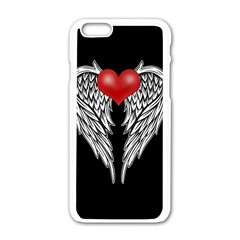 Angel Heart Tattoo Apple Iphone 6/6s White Enamel Case by Valentinaart