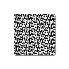 Panda Pattern Square Magnet by Valentinaart
