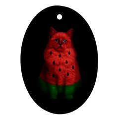 Watermelon Cat Ornament (oval) by Valentinaart