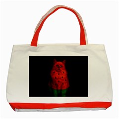 Watermelon Cat Classic Tote Bag (red) by Valentinaart