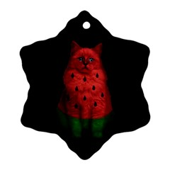 Watermelon Cat Snowflake Ornament (two Sides) by Valentinaart