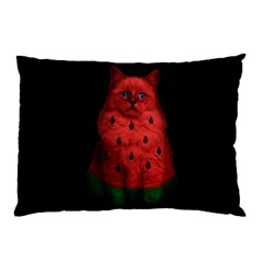 Watermelon Cat Pillow Case (two Sides) by Valentinaart