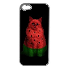 Watermelon Cat Apple Iphone 5 Case (silver) by Valentinaart