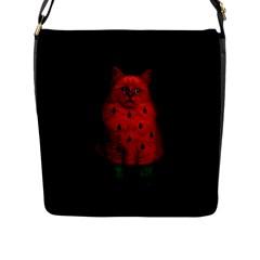 Watermelon Cat Flap Messenger Bag (l)  by Valentinaart