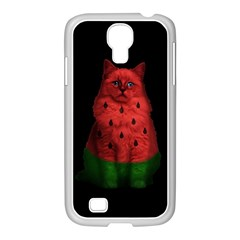 Watermelon Cat Samsung Galaxy S4 I9500/ I9505 Case (white) by Valentinaart