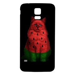 Watermelon Cat Samsung Galaxy S5 Back Case (white) by Valentinaart
