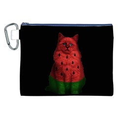 Watermelon Cat Canvas Cosmetic Bag (xxl) by Valentinaart