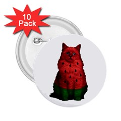 Watermelon Cat 2 25  Buttons (10 Pack)  by Valentinaart