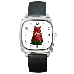 Watermelon Cat Square Metal Watch by Valentinaart