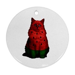 Watermelon Cat Round Ornament (two Sides) by Valentinaart