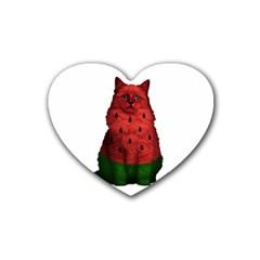 Watermelon Cat Heart Coaster (4 Pack)  by Valentinaart