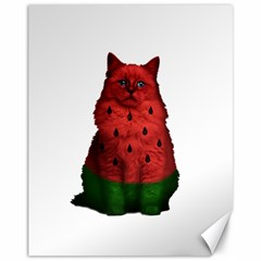 Watermelon Cat Canvas 11  X 14   by Valentinaart