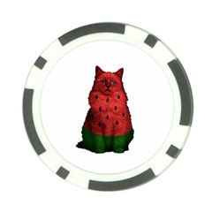 Watermelon Cat Poker Chip Card Guard by Valentinaart