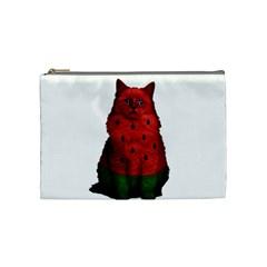 Watermelon Cat Cosmetic Bag (medium)  by Valentinaart