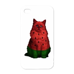 Watermelon Cat Apple Iphone 4 Case (white) by Valentinaart