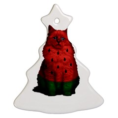 Watermelon Cat Ornament (christmas Tree)  by Valentinaart