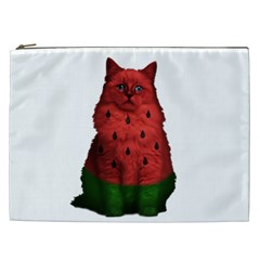 Watermelon Cat Cosmetic Bag (xxl)  by Valentinaart