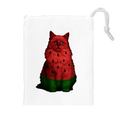 Watermelon Cat Drawstring Pouches (extra Large) by Valentinaart