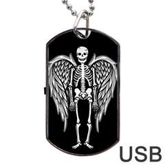 Angel Skeleton Dog Tag Usb Flash (two Sides) by Valentinaart