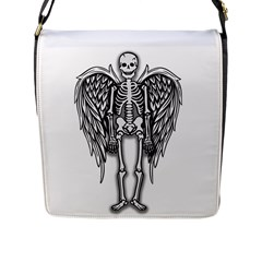 Angel Skeleton Flap Messenger Bag (l)  by Valentinaart