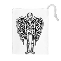 Angel Skeleton Drawstring Pouches (extra Large) by Valentinaart