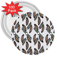 Feather Pattern 3  Buttons (100 Pack)  by Valentinaart