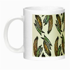 Feather Pattern Night Luminous Mugs by Valentinaart
