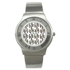 Feather Pattern Stainless Steel Watch by Valentinaart