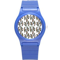 Feather Pattern Round Plastic Sport Watch (s) by Valentinaart