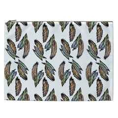 Feather Pattern Cosmetic Bag (xxl)  by Valentinaart