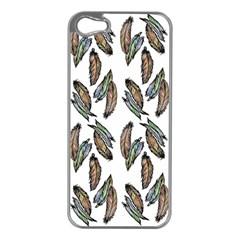 Feather Pattern Apple Iphone 5 Case (silver) by Valentinaart