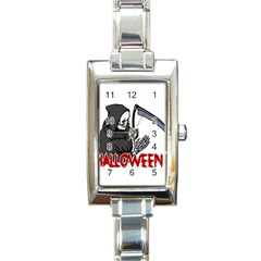 Death   Halloween Rectangle Italian Charm Watch by Valentinaart