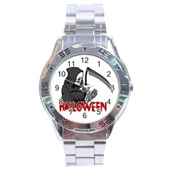 Death   Halloween Stainless Steel Analogue Watch by Valentinaart