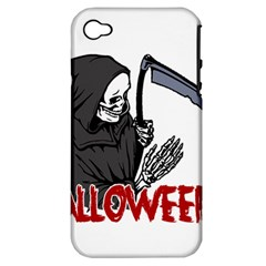 Death   Halloween Apple Iphone 4/4s Hardshell Case (pc+silicone) by Valentinaart