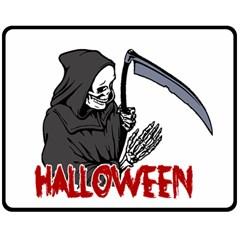 Death   Halloween Double Sided Fleece Blanket (medium)  by Valentinaart