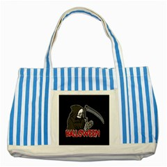Death   Halloween Striped Blue Tote Bag by Valentinaart
