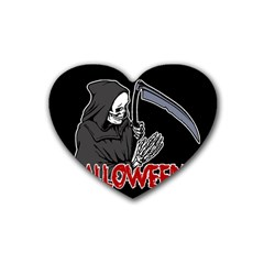Death   Halloween Rubber Coaster (heart)  by Valentinaart