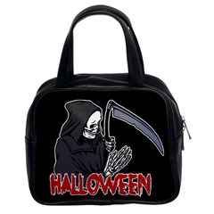 Death   Halloween Classic Handbags (2 Sides) by Valentinaart