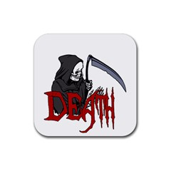 Death   Halloween Rubber Square Coaster (4 Pack)  by Valentinaart