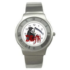 Death   Halloween Stainless Steel Watch by Valentinaart