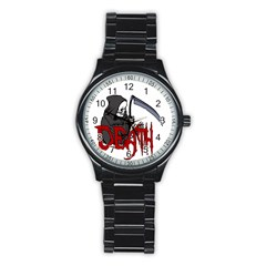 Death   Halloween Stainless Steel Round Watch by Valentinaart