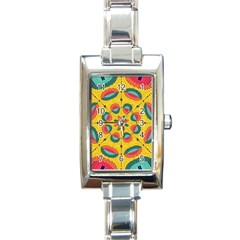 Textured Tropical Mandala Rectangle Italian Charm Watch by linceazul