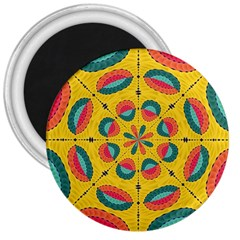 Textured Tropical Mandala 3  Magnets by linceazul