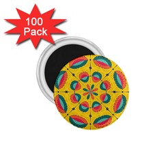 Textured Tropical Mandala 1 75  Magnets (100 Pack)  by linceazul