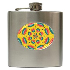 Textured Tropical Mandala Hip Flask (6 Oz) by linceazul