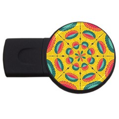 Textured Tropical Mandala Usb Flash Drive Round (4 Gb) by linceazul
