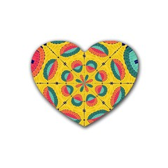 Textured Tropical Mandala Rubber Coaster (heart)  by linceazul